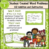 Word Problem Sentence Stem Started Frames CGI Add Subtract Task Cards Set 3