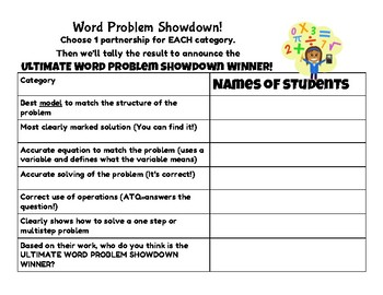 #nofrillsfreebie Word Problem Showdown Ballot