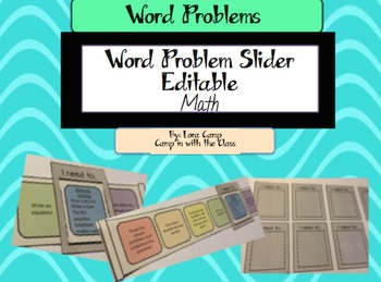 Word Problem Slider- EDITABLE