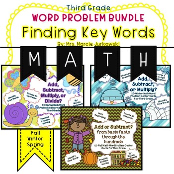 Word Problem Solving Bundle Finding Key Words Through the Year Third Grade