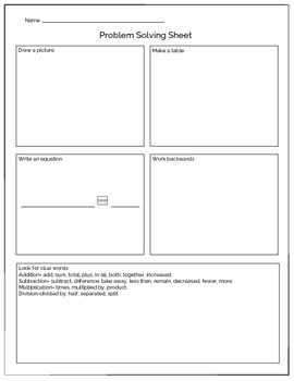 Math Word Problem Solving Sheet