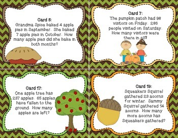 Word Problem Solving Third Grade Fall Edition Choose the Operation