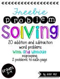 Word Problem Solving Worksheets FREEBIE