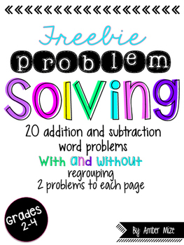 Word Problem Solving Worksheets FREEBIE