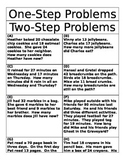 Word Problem Sort - One and Two Step Problems