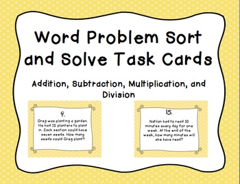 All Operations Word Problem Task Cards