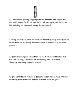 Word Problem Stations
