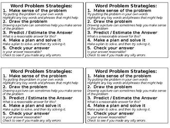 Word Problem Strategies Cards