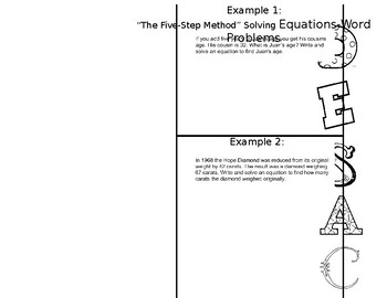 Word Problem Strategies (DESAC or the Five Step Method) Foldable