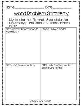 Word Problem Strategy for Addition and Subtraction