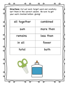 Word Problem Target Words Cut and Paste