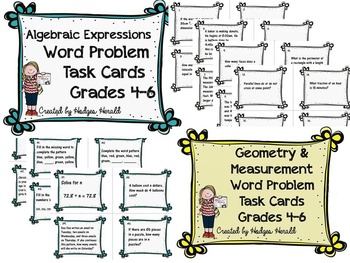 Word Problem Task Card BUNDLE- Grade 4-6