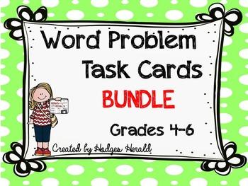 Word Problem Task Card BUNDLE- Grade 4-6