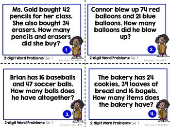 Word Problem Task Cards:  2-digit Addition and Subtraction with Regrouping