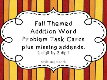 Word Problem Task Cards, 2 digit by 2 digit addition (Fall/Halloween themed)