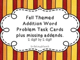 Word Problem Task Cards, 2 digit by 2 digit addition (Fall