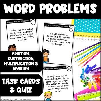 Word Problem Task Cards & Quiz {Addition, Subtraction, Multiplication, Division}
