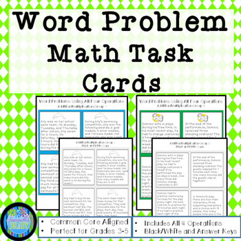 Math Word Problem Task Cards: Four Operations