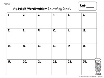 Word Problem Task Cards:  3-digit Addition and Subtraction with Regrouping
