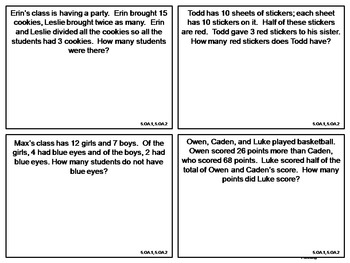 Word Problem Task Cards: 3rd, 4th and 5th Grade **All Standards**