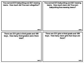 Word Problem Task Cards: 3rd and 4th Grade **All Standards**