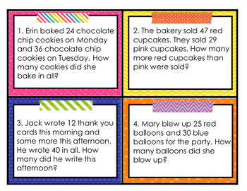 Word Problems Task Cards 2nd Grade