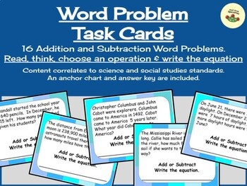 Word Problem Task Cards - Add or Subtract