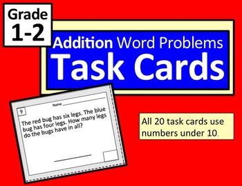 Word Problem Task Cards: Addition