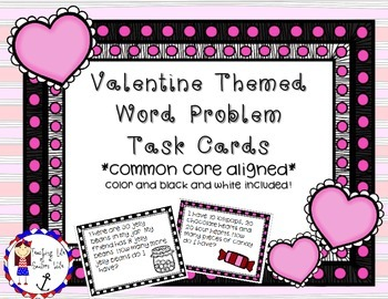 Word Problem Task Cards - Addition and Subtraction (Valentine Edition)