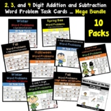 Word Problem Task Cards using 2, 3, and 4 Digit Addition and Subtraction Bundle