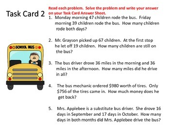 Word Problem Task Cards---Back to School Theme
