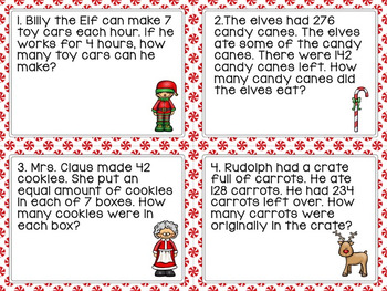 Word Problem Task Cards: Christmas Theme