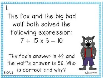 Word Problem Task Cards: Covers all 5th Grade Standards
