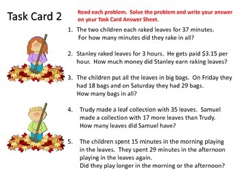Word Problem Task Cards---Fall Theme