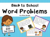 Word Problem Task Cards First Grade Back To School