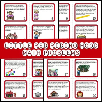 Task Cards ~ Word Problems, Little Red Riding Hood for Grades 2 & 3