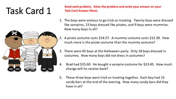 Word Problem Task Cards---Halloween Theme