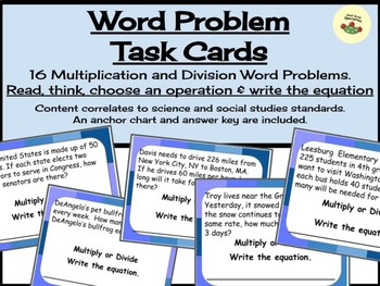 Word Problem Task Cards - Multiply or Divide