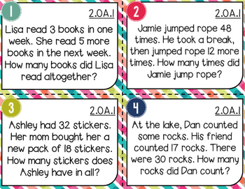 Word Problem Task Cards | One- & Two- Step Problems Mixup