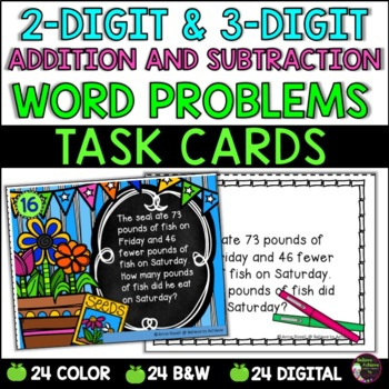 Word Problem Task Cards-Set D- 2 Versions! (Add and Subtract)