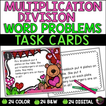 Word Problem Task Cards-Set E- 2 Versions! (Multiplication