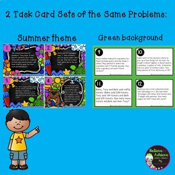 Word Problem Task Cards-Set G- 2 Versions! (Extra Information)