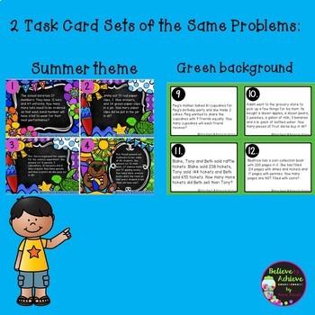 Word Problem Task Cards-Set G- 2 Versions! (Extra Information)
