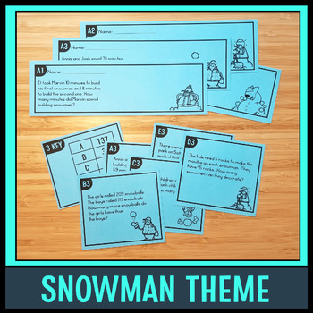 Tiered Word Problem Task Cards (Snowman Set)