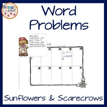 Word Problem Task Cards- Sunflowers and Scarecrows