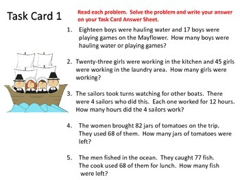 Word Problem Task Cards---Thanksgiving Theme