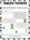 Word Problem Task Cards 5th, 6th, 7th grade - Zombie Theme