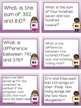 Word Problem Task Cards for 3.NBT.1 and 3.NBT.2