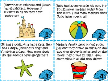 Word Problem Task Cards for Addition, Subtraction and Two-Step
