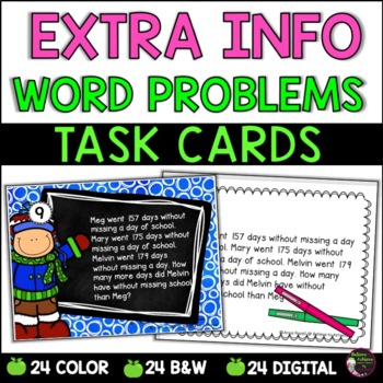 Word Problem Task Cards-Set B- 2 Versions!